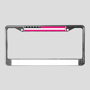 pink american flag License Plate Frame