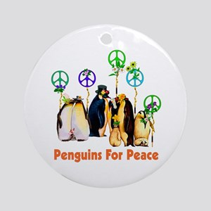 Penguins For Peace Round Ornament