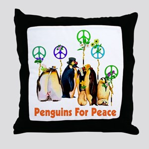 Penguins For Peace Throw Pillow