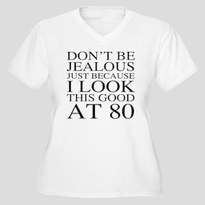 80th Birthday Jea Women's Plus Size V-Neck T-Shirt