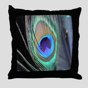 Peacock Feather Bright Throw Pillow
