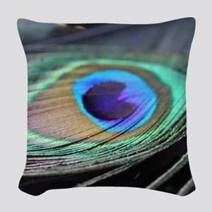 Peacock Feather Bright Woven Throw Pillow