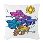 Siamese Betta Fish #2 Woven Throw Pillow
