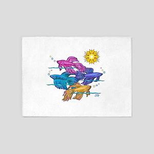 Siamese Betta Fish #2 5'x7'Area Rug