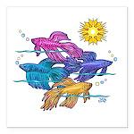 Siamese Betta Fish #2 Square Car Magnet 3