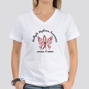 Multiple Myeloma Butterfly Women's V-Neck T-Shirt