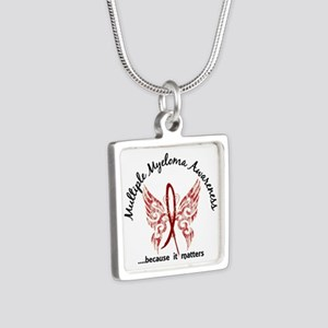 Multiple Myeloma Butterfly Silver Square Necklace