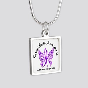 Sarcoidosis Butterfly 6.1 Silver Square Necklace
