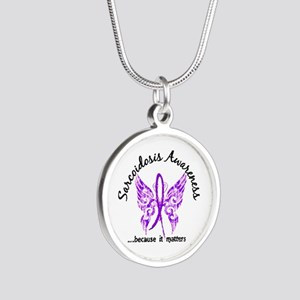 Sarcoidosis Butterfly 6.1 Silver Round Necklace