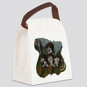 Four Puppies Playing Canvas Lunch Bag