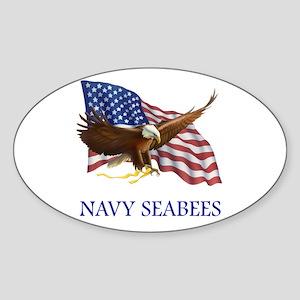 Navy Seabees Oval Sticker