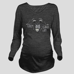 Crazy Llama Lady Long Sleeve Maternity T-Shirt