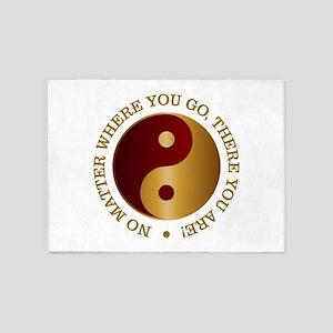 Yin Yang (Gold-Maroon) 5'x7'Area Rug