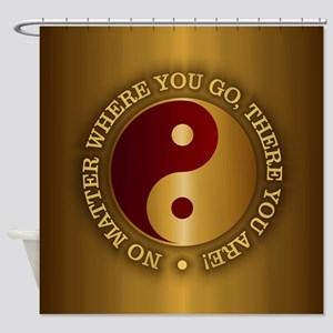 Yin Yang (Gold-Maroon) Shower Curtain