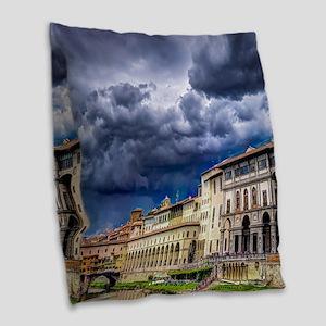 Florence Italy Burlap Throw Pillow