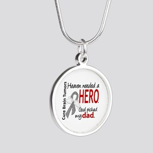 Brain Tumor HeavenNeededHero Silver Round Necklace