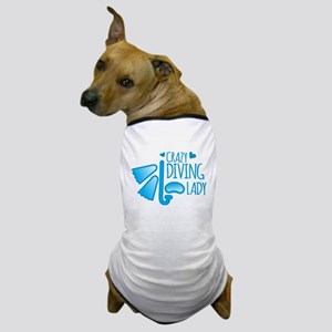 Crazy Diving Lady Dog T-Shirt