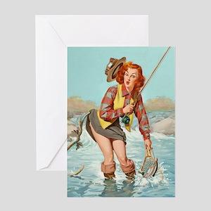 pinup fishing ! Greeting Card