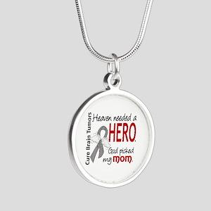 Brain Tumor HeavenNeededHero Silver Round Necklace