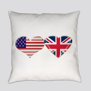 Usa And Uk Heart Flag Everyday Pillow