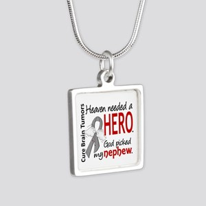 Brain Tumor HeavenNeededHe Silver Square Necklace