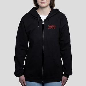 CLASS OF 2033-Bau red 501 Women's Zip Hoodie
