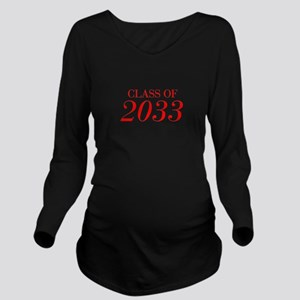 CLASS OF 2033-Bau red 501 Long Sleeve Maternity T-