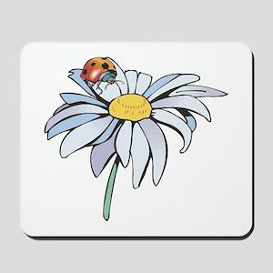 Ladybug on White Daisy Mousepad