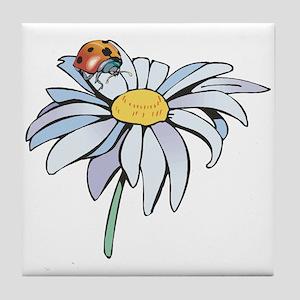 Ladybug on White Daisy Tile Coaster