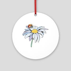 Ladybug on White Daisy Ornament (Round)
