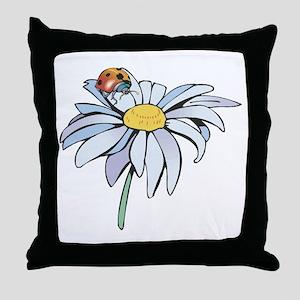 Ladybug on White Daisy Throw Pillow