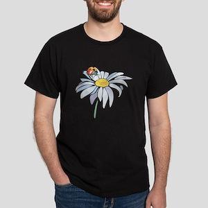 Ladybug on White Daisy Dark T-Shirt