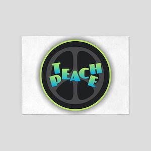 Teach Peace - Blue Green 5'x7'Area Rug