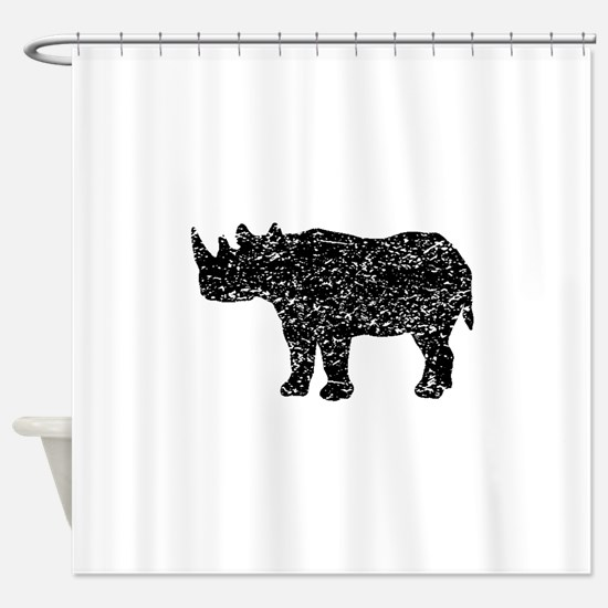 Distressed Rhinoceros Silhouette Shower Curtain