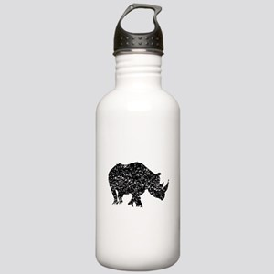 Distressed Rhino Silhouette Water Bottle