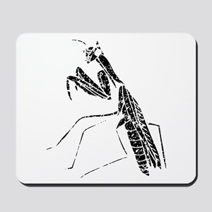 Distressed Preying Mantis Silhouette Mousepad