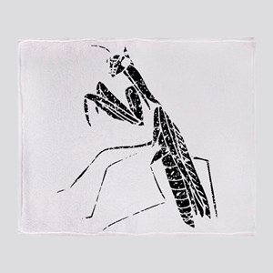Distressed Preying Mantis Silhouette Throw Blanket