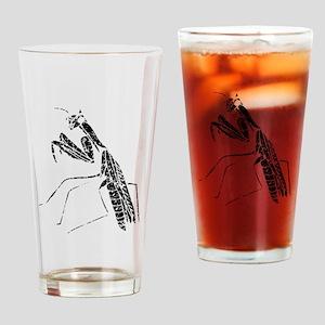 Distressed Preying Mantis Silhouette Drinking Glas