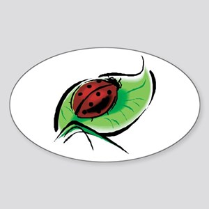 Ladybug on a Leaf Oval Sticker