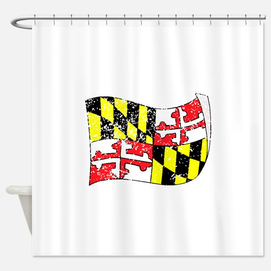 Maryland State Flag (Distressed) Shower Curtain