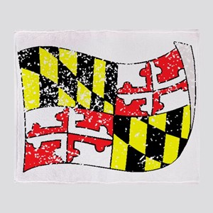 Maryland State Flag (Distressed) Throw Blanket