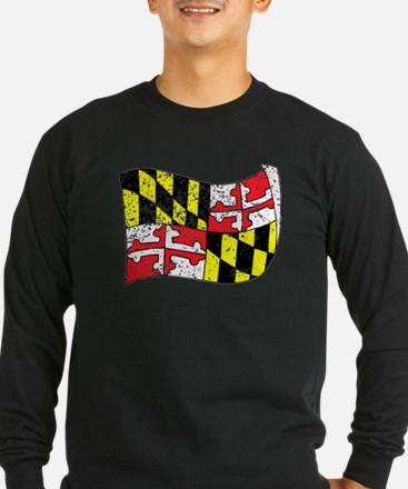 Maryland State Flag (Distressed) Long Sleeve T-Shi