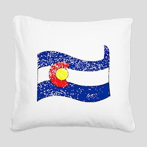 Colorado State Flag (Distressed) Square Canvas Pil