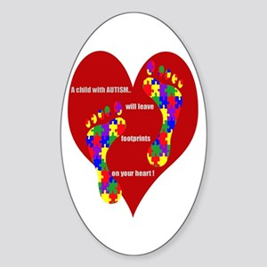 Footprints on your heart 2 Oval Sticker