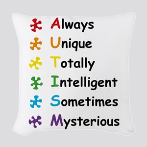 Autism Facts Woven Throw Pillow