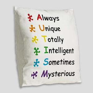 Autism Facts Burlap Throw Pillow