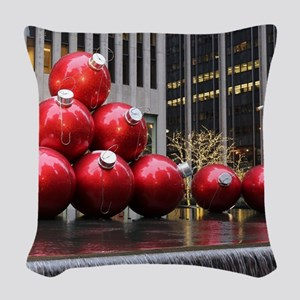 Christmas Ball Ornaments Woven Throw Pillow
