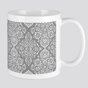 Beautiful Trendy Grey Demask pattern Mugs