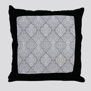 Beautiful Trendy Grey Demask pattern Throw Pillow