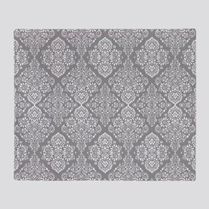 Beautiful Trendy Grey Demask pattern Throw Blanket